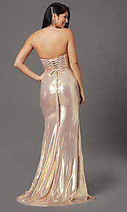 Image of long strapless formal prom dress with corset back. Style: FB-GL2894 Detail Image 4