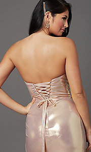 Image of long strapless formal prom dress with corset back. Style: FB-GL2894 Detail Image 5