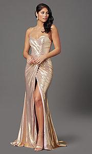 Image of long strapless formal prom dress with corset back. Style: FB-GL2894 Detail Image 6