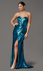Image of long strapless formal prom dress with corset back. Style: FB-GL2894 Front Image