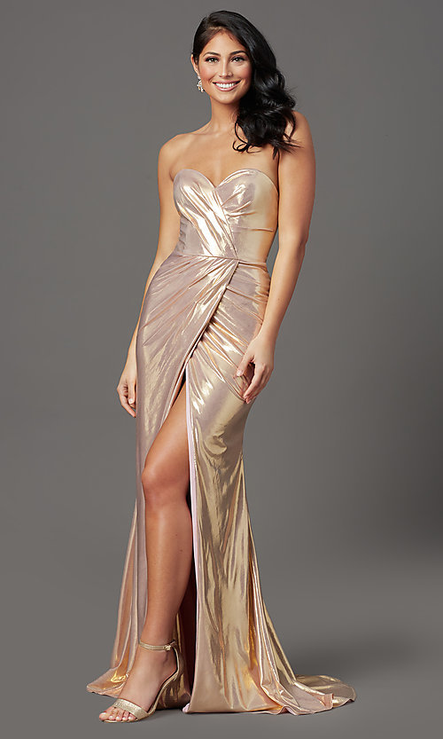 Image of long strapless formal prom dress with corset back. Style: FB-GL2894 Detail Image 3