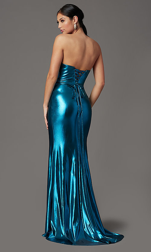Image of long strapless formal prom dress with corset back. Style: FB-GL2894 Back Image