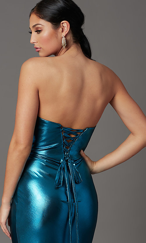 Image of long strapless formal prom dress with corset back. Style: FB-GL2894 Detail Image 1