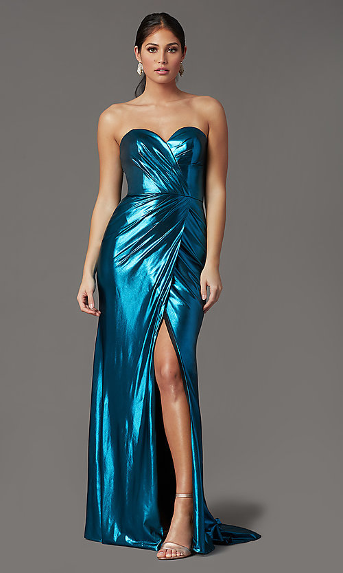 Image of long strapless formal prom dress with corset back. Style: FB-GL2894 Detail Image 2