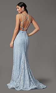 Image of long floral-lace formal prom dress with open back. Style: FB-GL2898 Detail Image 4