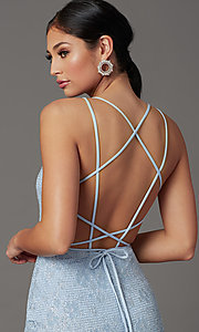 Image of long floral-lace formal prom dress with open back. Style: FB-GL2898 Detail Image 5