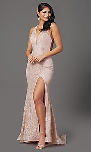 Image of long floral-lace formal prom dress with open back. Style: FB-GL2898 Front Image