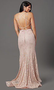 Image of long floral-lace formal prom dress with open back. Style: FB-GL2898 Back Image
