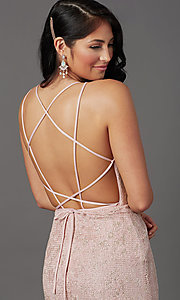 Image of long floral-lace formal prom dress with open back. Style: FB-GL2898 Detail Image 2