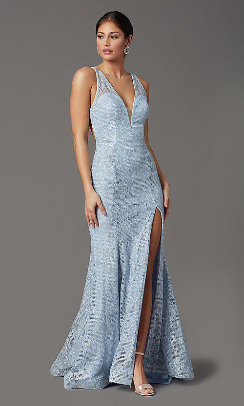 Image of long floral-lace formal prom dress with open back. Style: FB-GL2898 Detail Image 6