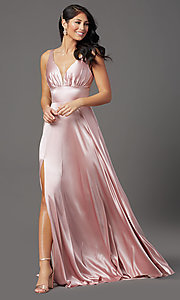 Image of mauve pink long satin formal prom dress with train. Style: FB-GL2954 Front Image