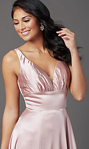 Image of mauve pink long satin formal prom dress with train. Style: FB-GL2954 Detail Image 1