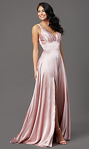 Image of mauve pink long satin formal prom dress with train. Style: FB-GL2954 Detail Image 2