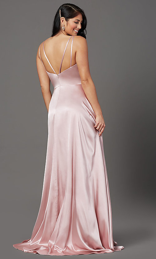 Image of mauve pink long satin formal prom dress with train. Style: FB-GL2954 Back Image
