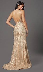 Image of long glitter gold sparkly prom dress. Style: FB-GL2981 Back Image