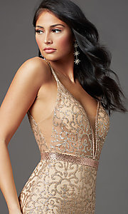 Image of long glitter gold sparkly prom dress. Style: FB-GL2981 Detail Image 1