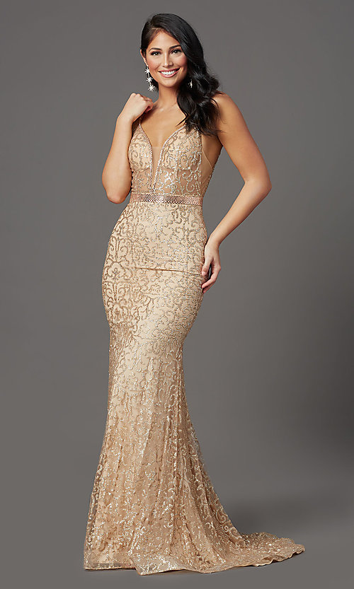 Image of long glitter gold sparkly prom dress. Style: FB-GL2981 Front Image