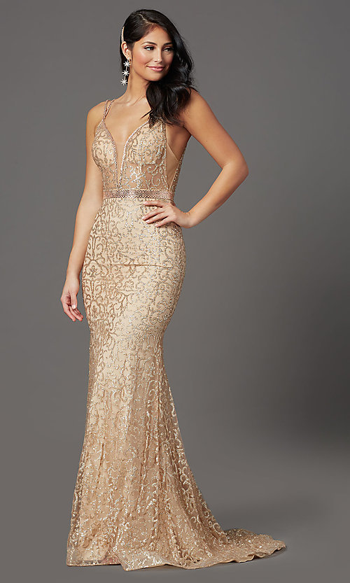 Image of long glitter gold sparkly prom dress. Style: FB-GL2981 Detail Image 2