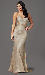 Image of long sparkly gold glitter-mesh formal prom dress. Style: FB-GL2988 Front Image