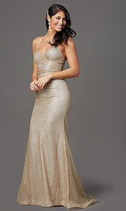 Image of long sparkly gold glitter-mesh formal prom dress. Style: FB-GL2988 Detail Image 2