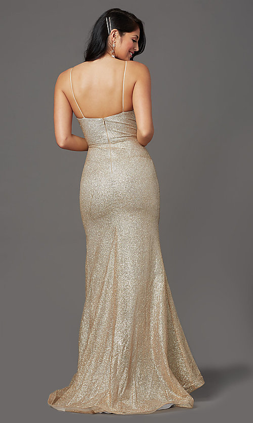 Image of long sparkly gold glitter-mesh formal prom dress. Style: FB-GL2988 Back Image
