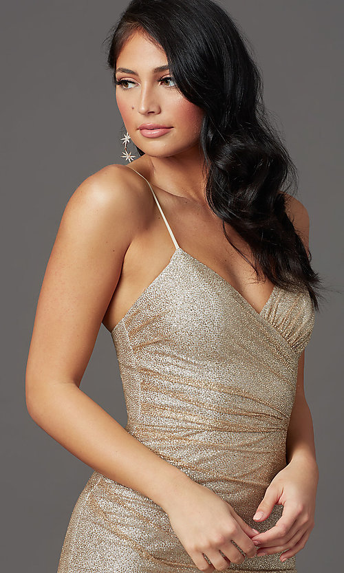Image of long sparkly gold glitter-mesh formal prom dress. Style: FB-GL2988 Detail Image 1