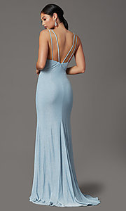 Image of glitter-knit backless long blue formal prom dress. Style: FB-GL2895-1 Back Image