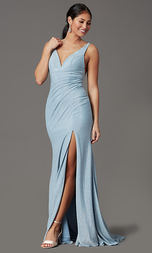 Image of glitter-knit backless long blue formal prom dress. Style: FB-GL2895-1 Front Image