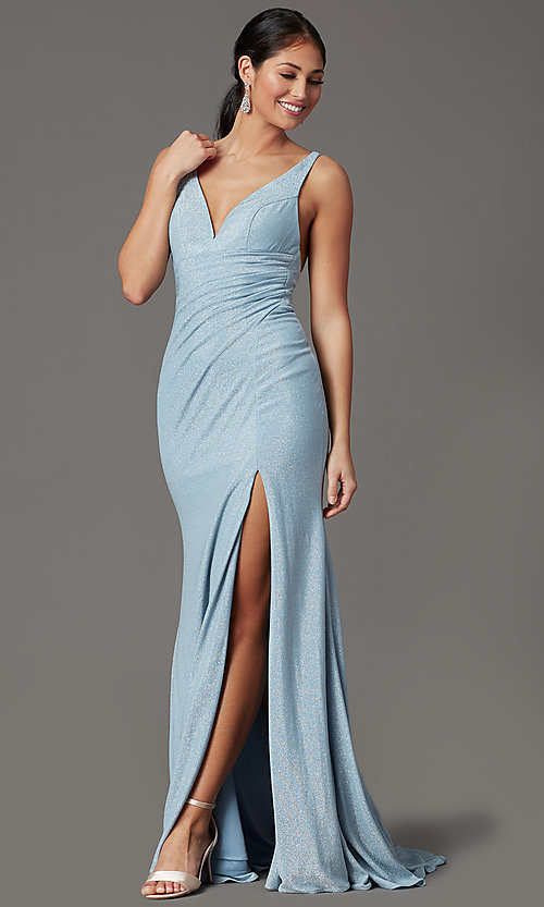 Image of glitter-knit backless long blue formal prom dress. Style: FB-GL2895-1 Detail Image 2