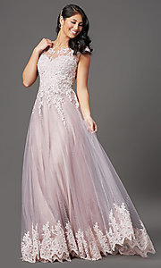Image of cap-sleeved lace-embellished long tulle prom dress. Style: FB-GL2886 Front Image