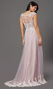 Image of cap-sleeved lace-embellished long tulle prom dress. Style: FB-GL2886 Back Image