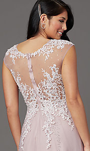 Image of cap-sleeved lace-embellished long tulle prom dress. Style: FB-GL2886 Detail Image 1