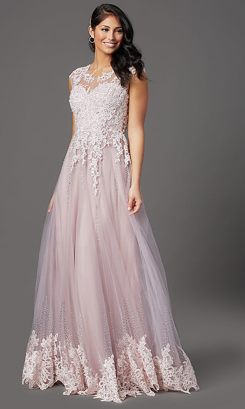 Image of cap-sleeved lace-embellished long tulle prom dress. Style: FB-GL2886 Detail Image 2