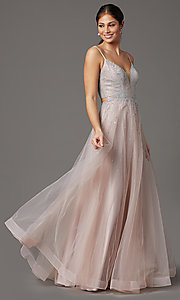 Image of mauve pink long tulle prom dress with beading. Style: FB-GL2891 Front Image