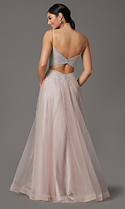 Image of mauve pink long tulle prom dress with beading. Style: FB-GL2891 Back Image