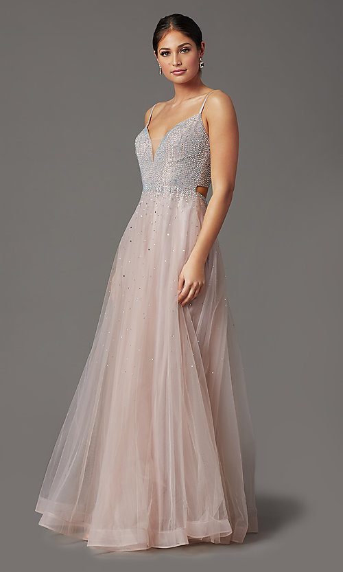 Image of mauve pink long tulle prom dress with beading. Style: FB-GL2891 Detail Image 2
