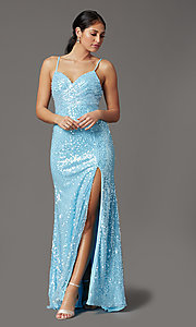 Image of sequined long formal prom dress with open back. Style: FB-GL2893 Front Image