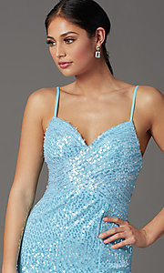 Image of sequined long formal prom dress with open back. Style: FB-GL2893 Detail Image 1