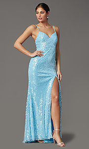 Image of sequined long formal prom dress with open back. Style: FB-GL2893 Detail Image 2