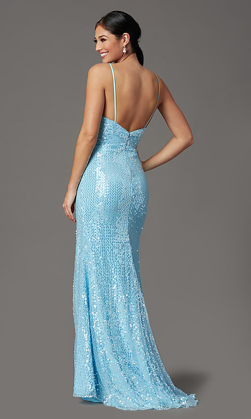 Image of sequined long formal prom dress with open back. Style: FB-GL2893 Back Image