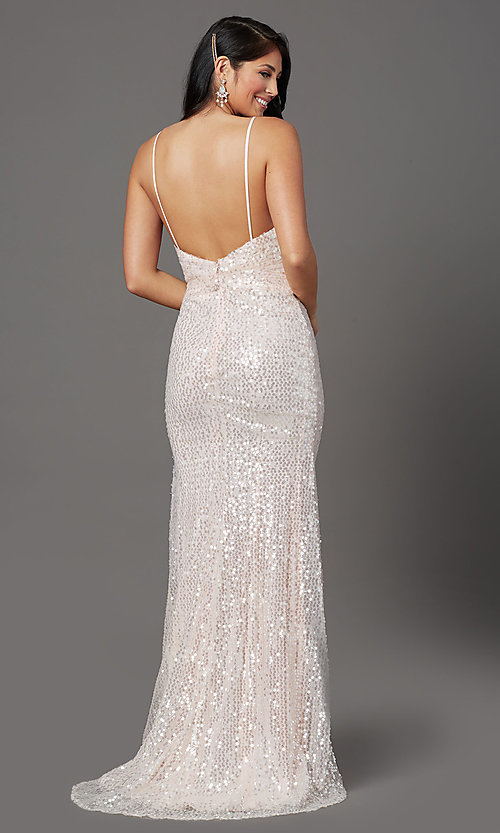 Image of sequined long formal prom dress with open back. Style: FB-GL2893 Detail Image 4