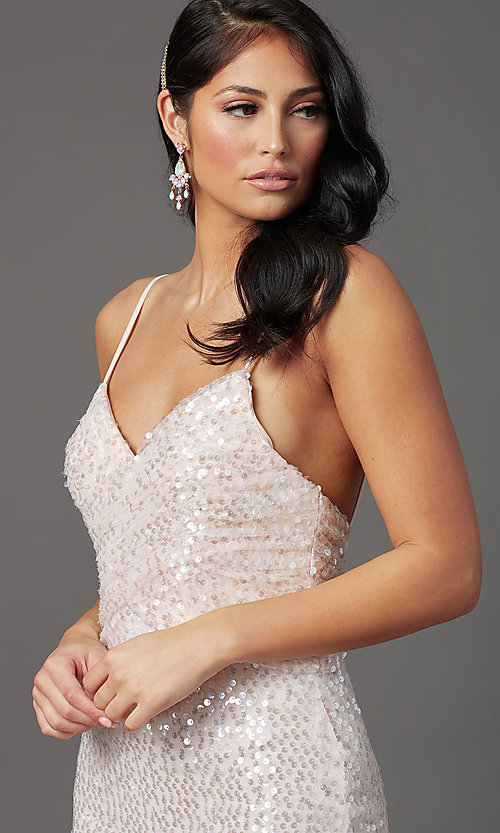 Image of sequined long formal prom dress with open back. Style: FB-GL2893 Detail Image 3