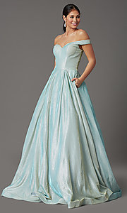 Image of off-the-shoulder prom ball gown in mint green. Style: FB-GL2904H Front Image