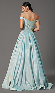Image of off-the-shoulder prom ball gown in mint green. Style: FB-GL2904H Back Image