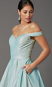 Image of off-the-shoulder prom ball gown in mint green. Style: FB-GL2904H Detail Image 1