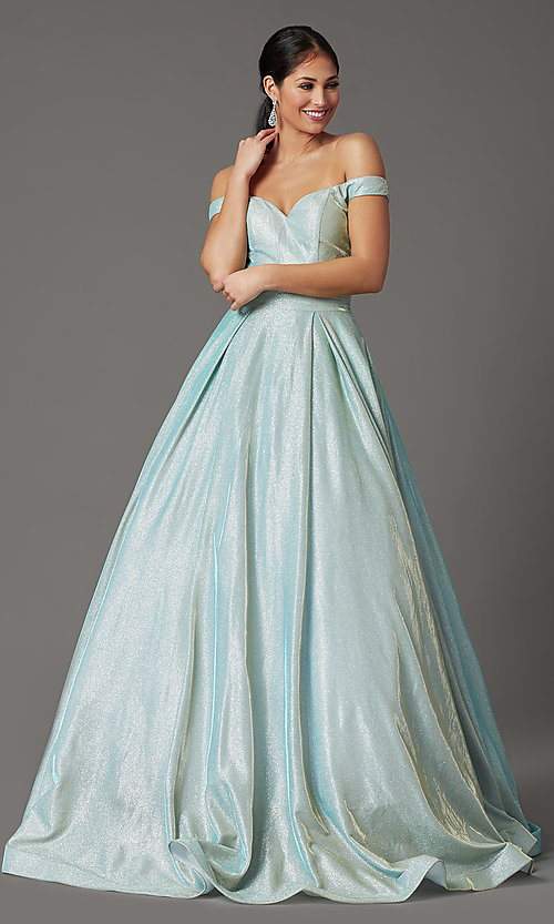Image of off-the-shoulder prom ball gown in mint green. Style: FB-GL2904H Detail Image 2