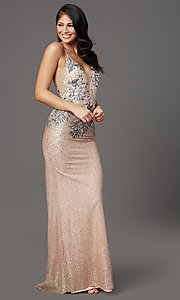 Image of rose gold long sparkly formal prom dress. Style: FB-GL2929 Front Image