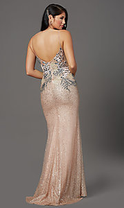 Image of rose gold long sparkly formal prom dress. Style: FB-GL2929 Back Image