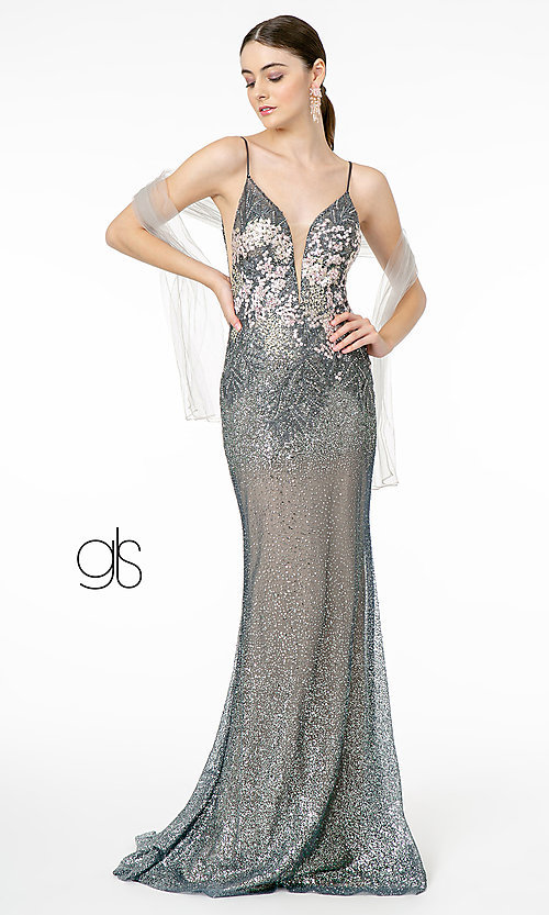 Image of rose gold long sparkly formal prom dress. Style: FB-GL2929 Detail Image 3