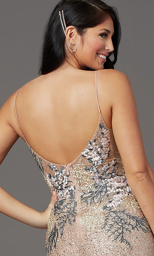 Image of rose gold long sparkly formal prom dress. Style: FB-GL2929 Detail Image 2